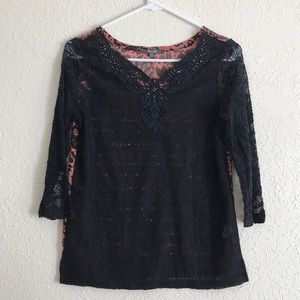 Miss Me black & coral lace beaded layering top